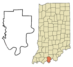 Map of Indiana with Perry County marked.